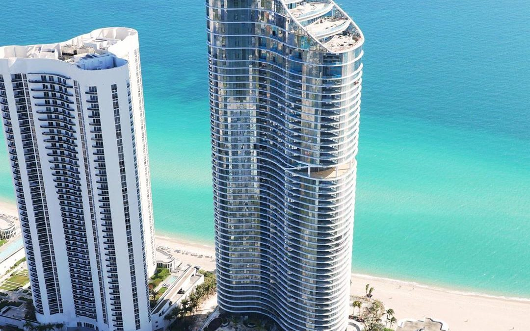 AERIAL PHOTO OF THE 52-STORY RITZ CARLTON RESIDENCES SUNNY ISLES, OPENING SOON